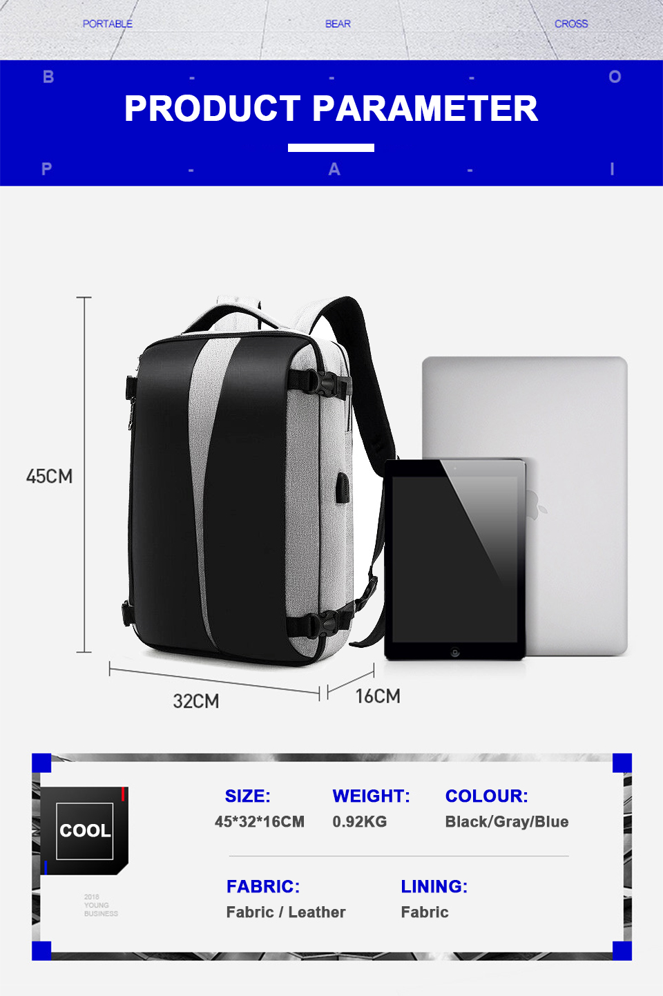 Men Backpack Anti Theft Travel Bagpack Laptop 15.6 Inch Notebook Waterproof Bags USB Charging Male Business Fashion Unisex Bag (12)