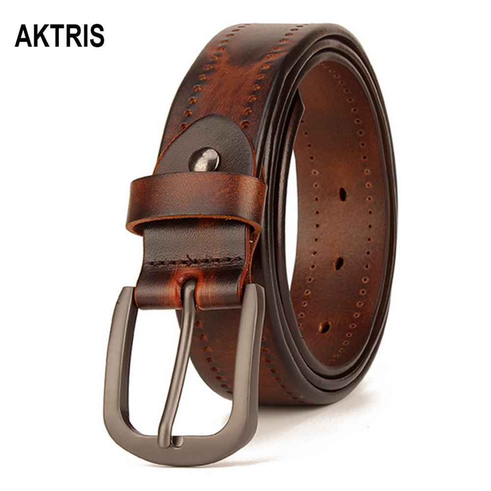 AKTRIS Unisex New Brand Design Ladies Unique Design Pure Cowhide Leather Belts Women Female Accessories Jeans 3.3cm 2019 FCO233