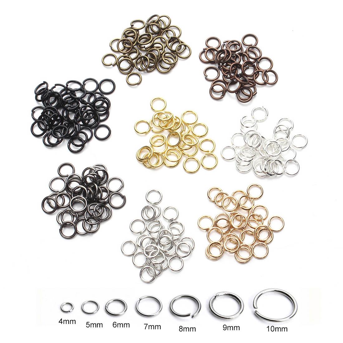 200pcs/bag 4/5/6/7/8/10mm Metal DIY Jewelry Findings Open Single Loops Jump Rings & Split Ring For Jewelry Making Findings