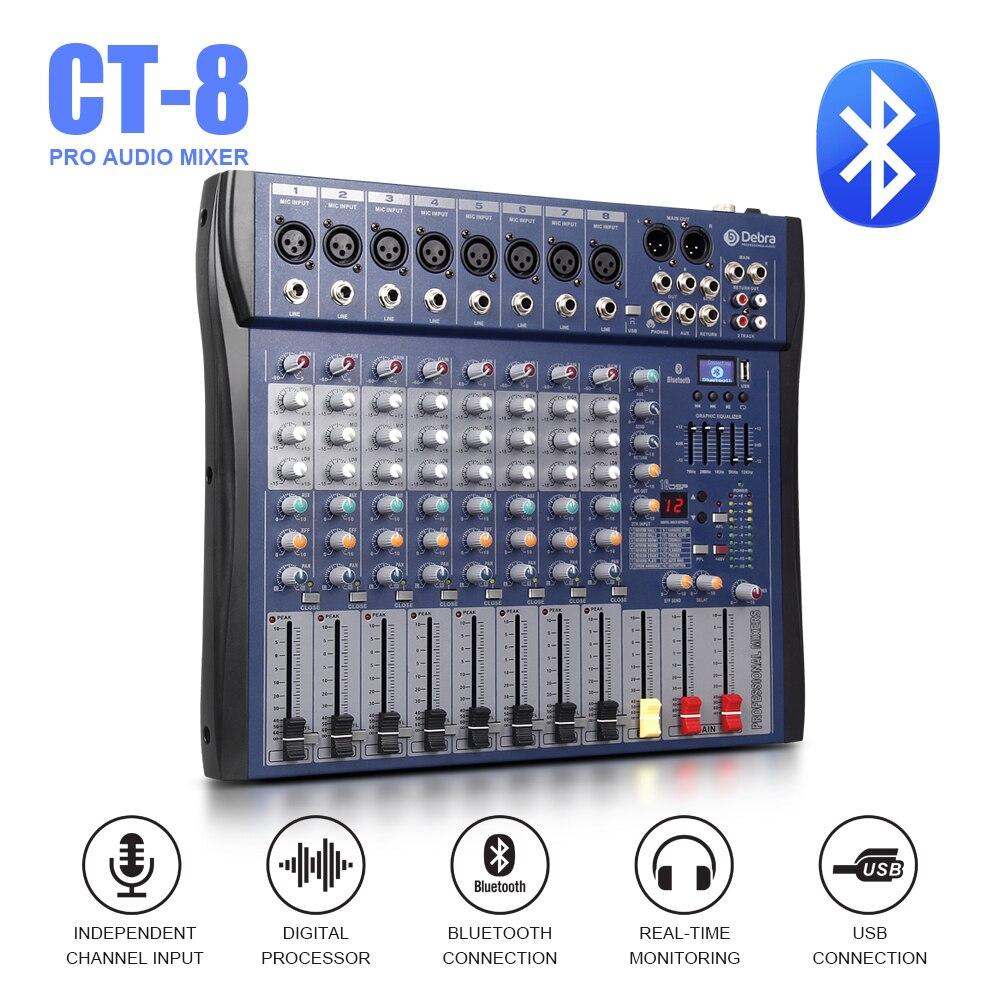 Gute sound!!! USB Bluetooth dj controller mixer professionelle verstärker 8 kanal audio Digital Wirkung karaoke KTV Hochzeit mixer