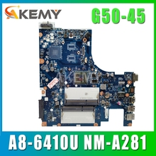 free shipping For Lenovo G50-45 Laptop Motherboard ACLU5/ACLU6 NM-A281 with A8-6410 CPU G50-45 mainboard motherboard 100% Tested