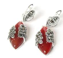 "Jewelry Jade Earring VINTAGE 11/2"" NATURAL RED Natural Stone MARCASITE 925 SILVER EARRINGS Free Shipping(China)"