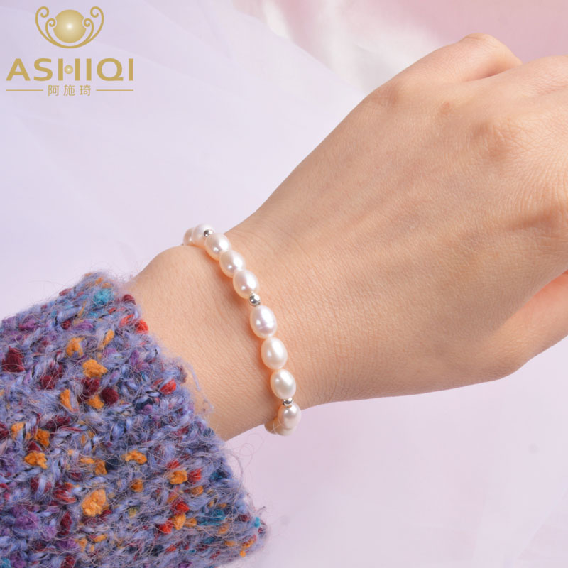 ASHIQI Real Natural Freshwater Pearl 925 Solid Sterling Silver Beads Bracelet Gift Women Fine Jewelry