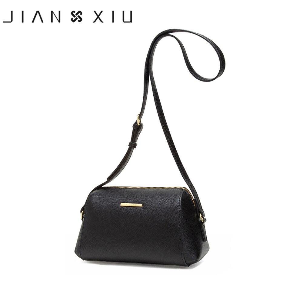 JIANXIU العلامة التجارية حقيبة جلدية أصلية يتشي الملمس أكياس Crossbody للنساء حقيبة ساع 2019 أحدث حقيبة كتف صغيرة 2 اللون-في حقائب الكتف من حقائب وأمتعة على  مجموعة 1