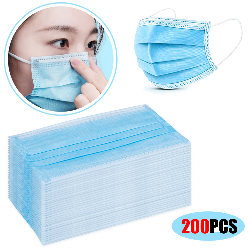 50-200PCS Disposable Mouth Masks 3 Layers Anti-Dust Anti Protection Fabric Dust Mask Non Woven Disposable Anti Dust Mask