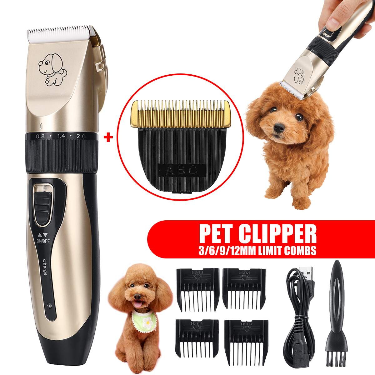 Professional Pet Dog Hair Trimmer Low-noise Pet Hair Clipper Machine Rechargeable Dog Grooming Electric Pet Hair Cutter+ Blade
