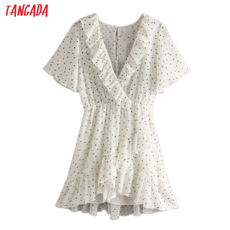 Tangada 2020 Fashion Women Dots Print Summer Dress Short Sleeve Vintage Female Ruffles Beach Dress JE40