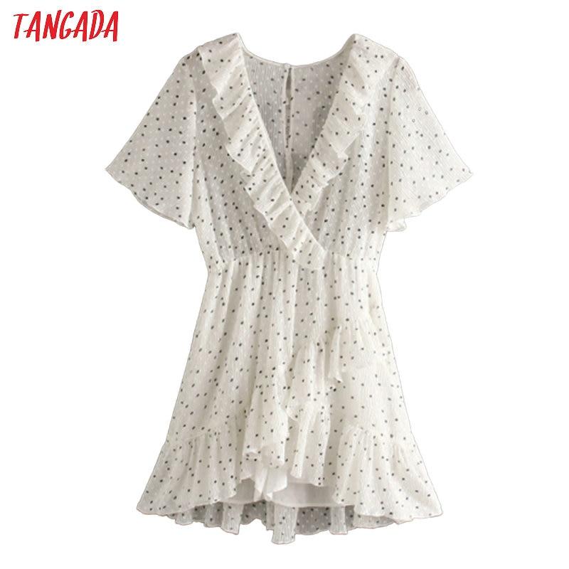 Tangada 2020 Fashion Women Dots Print Summer Dress Short Sleeve Vintage Female Ruffles Beach Dress JE40