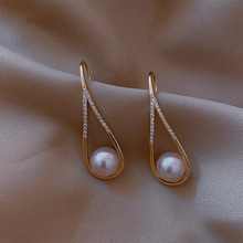 Dangle-Earrings Geometric Gold-Color Vintage Simulated-Pearl Party-Pendiente Metal Fashion