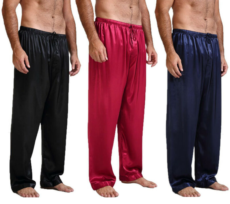 Goocheer Sexy Mens Silk Satin Pajamas Skin-Friendly Pyjamas Pants Lounge Pants Sleep Bottoms Size S-XL