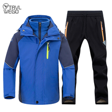 TRVLWEGO Girl Hiking Jacket and Pant Winter Warm Camping Suit Windproof Outdoor Children Clothing Set Kids Ski Sets For Boys цены онлайн