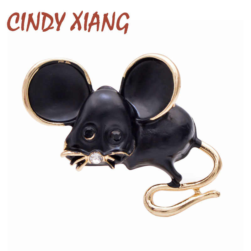 CINDY XIANG Little Mouse Brooch 2020 Chinese Mouse Year Brooch Fashion Jewelry Carton Animal Pin Badages White Black Color Gift