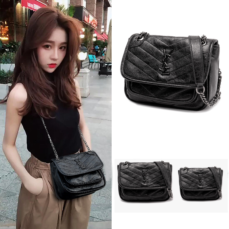 2019 Europe And America New Style Rhombus Chain WOMEN'S Bag Retro Messenger Bag Niki WOMEN'S Bag Large Capacity Shoulder