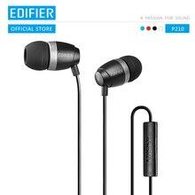 EDIFIER P210 w uchu słuchawka z wbudowanym mikrofonem stereofoniczny zestaw słuchawkowy ze wzmocnieniem basów głośnomówiący 3.5mm kontrola przewodowa słuchawka słuchawki douszne HiFi