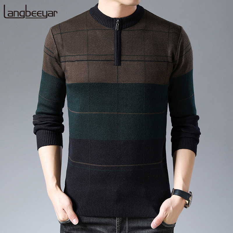 2020 New Fashion Brand Sweaters Mens Half Zip Pullover Slim Fit Jumpers Knitwear Warm Winter Korean Style Casual Clothing Men
