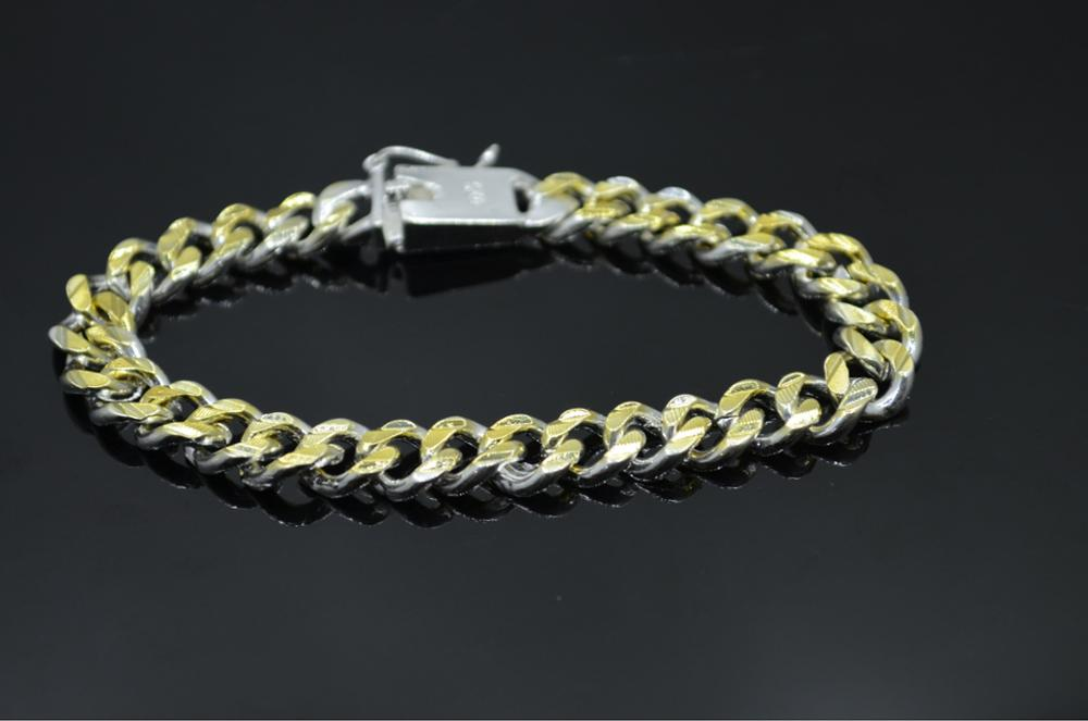 New high-end women's mens fine 925 sterling silver bracelet fashion jewelry gift men's 10MM square beautiful gem