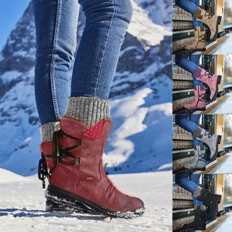 Monerffi Nữ Mùa Đông Giày Giữa Bắp Chân Ủng Quần Đùi Nữ Cao Boot Ấm Chất Lượng Cao Botas Mujer Plus Kích Thước zapatos De Mujer