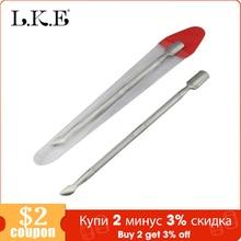 LKE 1 sztuk przyrząd do usuwania naskórka ze stali nierdzewnej niezbędne skórek 2 Way łyżka Pusher Pedicure Manicure obecne uroda narzędzia do paznokci