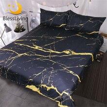 Bethliving housse de couette moderne avec Faux marbre, ensemble de literie tendance avec paillettes dorées et pierres noires