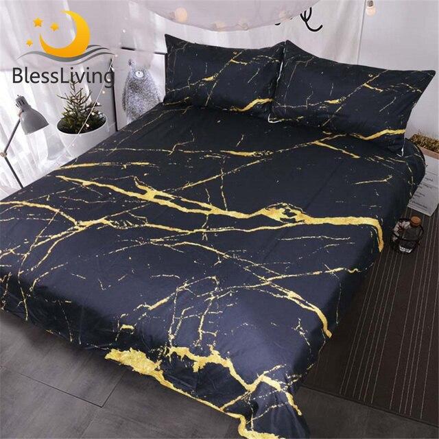 BlessLiving Marble Quilt Cover Modern Faux Gold Glitter Black Marble Stone Bedding Set Queen 3 Pieces Trendy Duvet Cover Set