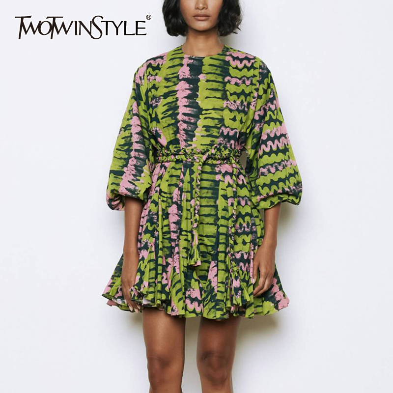 TWOTWINSTYLE Elegant Print Dresses Female O Neck Lantern Sleeve High Wiast Lace Up Pleated Hem Mini Hit Color Dress Women Tide