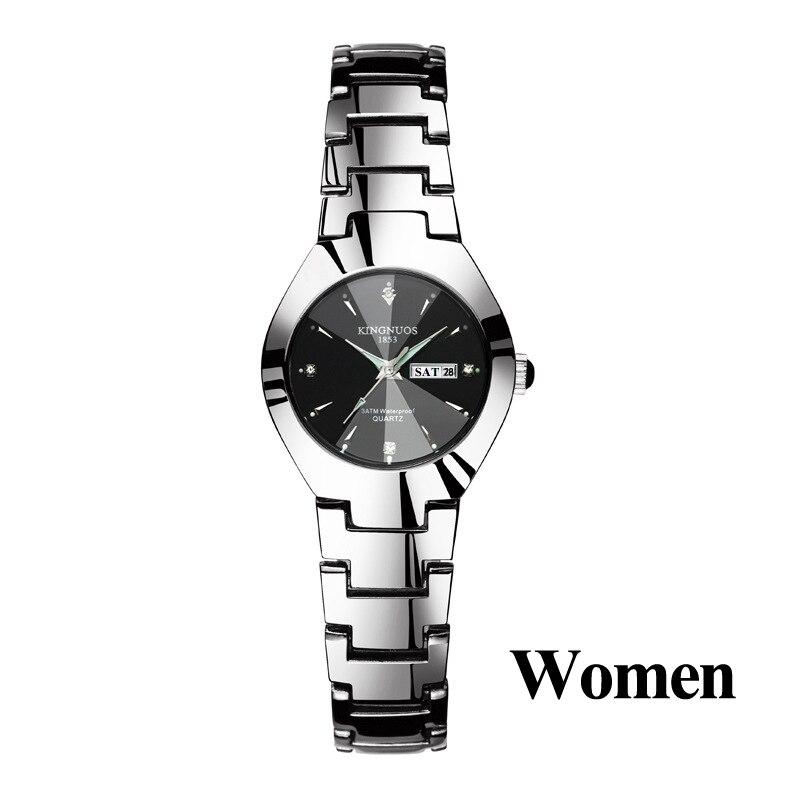 Часы для влюбленных Роскошные Кварцевые наручные часы для мужчин и женщин Hodinky Dual Calender Week steel Saat Reloj Mujer Hombre парные часы - Цвет: Women Silver Black