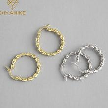 XIYANIKE – boucles d'oreilles créoles torsadées en argent Sterling 925 pour femmes, breloques à la mode, rétro, français, luxe, romantique, Oorbellen, 2021