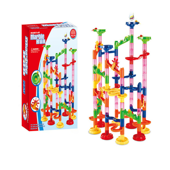 DIY Construction Marble Race Run Maze Balls Track Building Blocks Children Gift For Baby Educational Toys candice guo plastic toy children block track ball building blocks 74pcs diy maze marble run construction system race deluxe gift