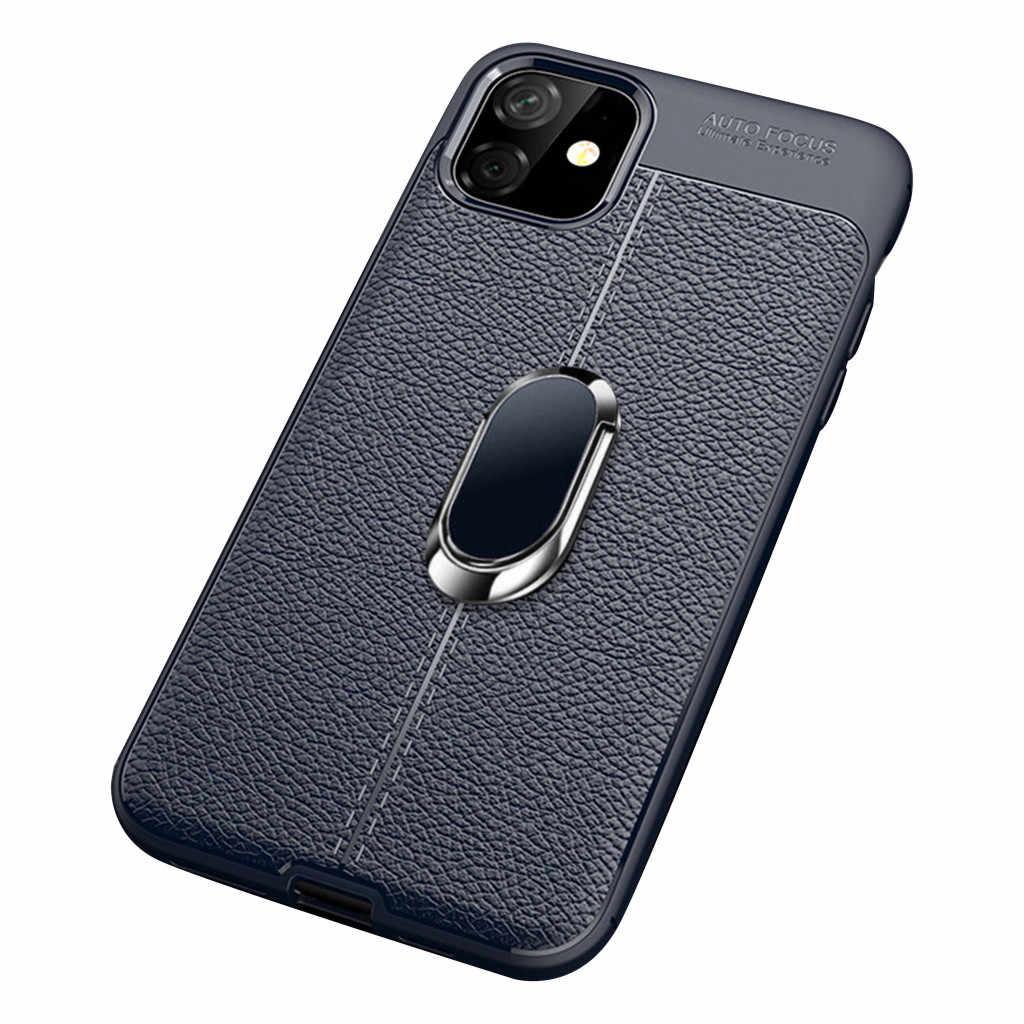 דק במיוחד החלקה ונגד טביעות אצבע עיצוב עבור iPhone 11 6.1 אינץ עור רך מוקשח Slim טבעת Stand סיליקון Case