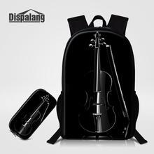 Dispalang الأسود الكمان طباعة مدرسة حقيبة ظهر للفتيات 2 قطعة مجموعة مقلمة على ظهره العظام للأطفال تخصيص Bookbag