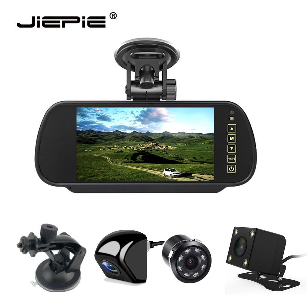 JIEPIE 7 inch RearView Mirror Monitor reverse camera kit Metal waterproof rear view camera for Cars,Van,SUV title=
