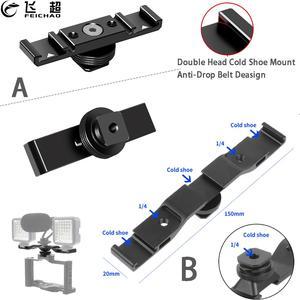 """Image 1 - Potrójny/podwójny zimny Adapter do butów 1/4 """"uchwyt na pasek rozszerzenia Vlogging uchwyt wideo na statyw lustrzanka cyfrowa lampka wypełniająca mikrofon"""