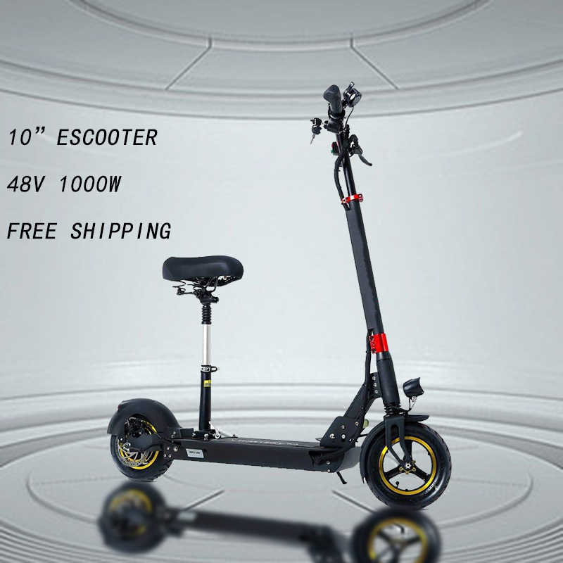 "48V1000W Electric Scooter 10"" E Scooter 3 Models Skateboard with Seat Foldable Hoverboard Patinete Electrico Adult 60km Battery"