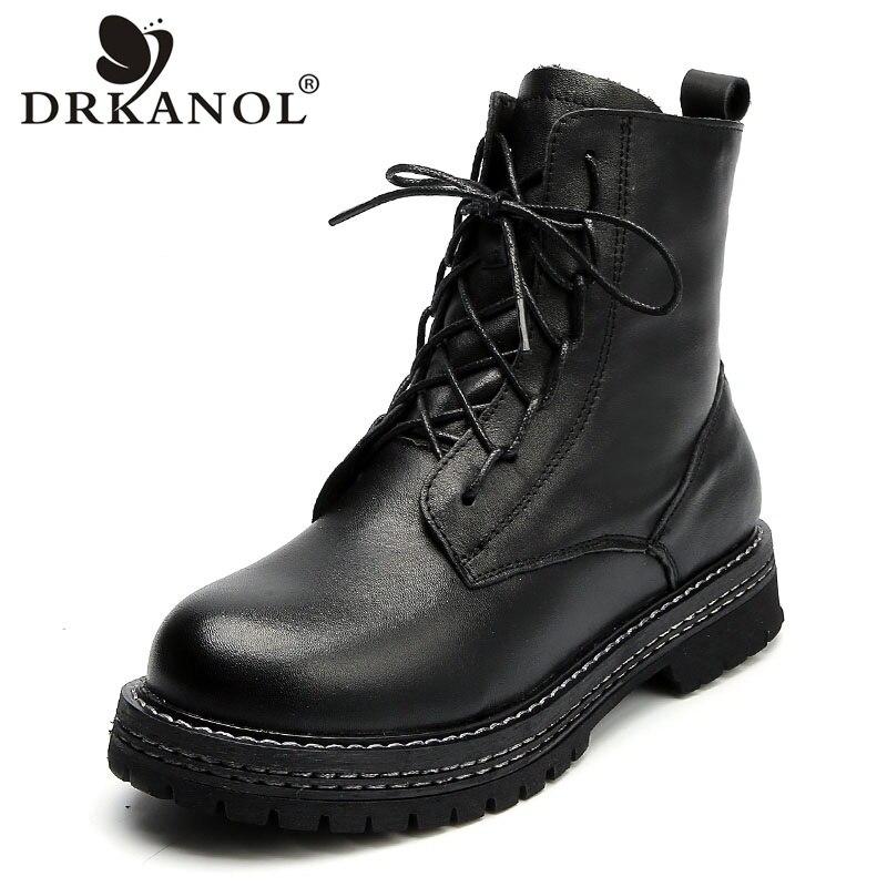 DRKANOL mode femmes bottines en cuir véritable hiver chaud chaussures plates femmes Martin bottes à la main bout rond plate-forme bottes