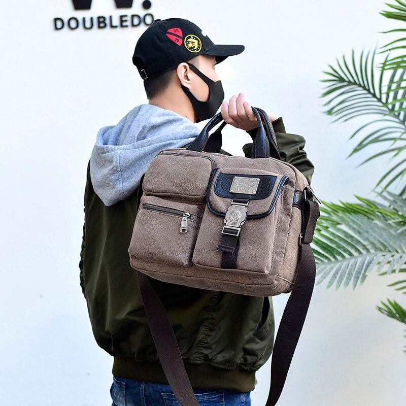 Fashion Canvas Men Shoulder Bags Vintage Messenger Crossbody Bags For Men Satchel Big Capacity Casual Tote Bag Men Handbag 1061