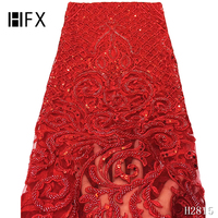 HFX Bridal Lace Fabric High Quality African Handmade Beads Lace Fabric Embroidery 3d French Lace Fabric for 5yards F2815