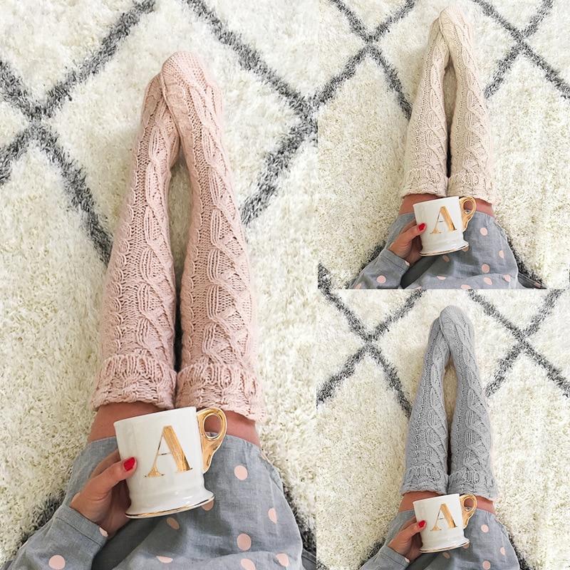 Mooirue Women Winter Kintting Long Socks Vintage Streetwear Korean Style Leg Warmers Solid Casual Knee Thigh Socks Female