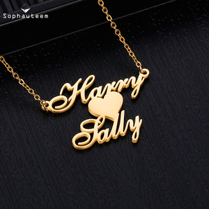 Personalized Name Necklace Stainless Steel Letter Heart 2 Names Name Plated Necklace Pendant Customized Nameplate for Women Men