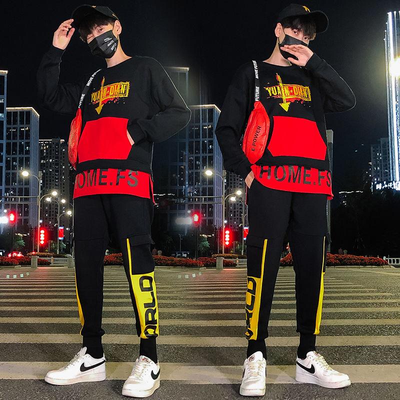 Trendy Red Black Pocket Tracksuit 2 Piece Set 2020 Moda Hip Hop Student Tracksuit Round Neck Sports Suit Men's Set Tracksuit