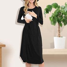 Платье для беременных; Мягкое хлопковое платье; зимнее однотонное платье с длинными рукавами для беременных; платья для грудного вскармливания; Zwangerschapsrok; Y823