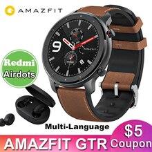 Wersja globalna Amazfit GTR 47mm inteligentny zegarek Huami 5ATM wodoodporna Smartwatch 24 dni pracy GPS dla Android IOS w wielu językach