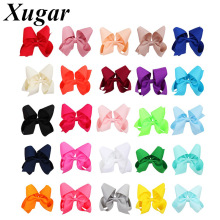 25Pcs/Lot Solid Grosgrain Ribbon Hair Bows with Covered Clip for Girls Handmade Bowknot Hairpins Accessories