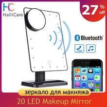 180 Gradi di Rotazione 20 Led Touch Screen Specchio per Il Trucco Bluetooth Altoparlante 10X Ingrandimento Specchi Luci Salute Bellezza Strumento
