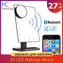 180 grados de rotación 20 LED pantalla táctil espejo de maquillaje Bluetooth altavoz 10X lupa luces de espejos herramienta DE BELLEZA DE SALUD