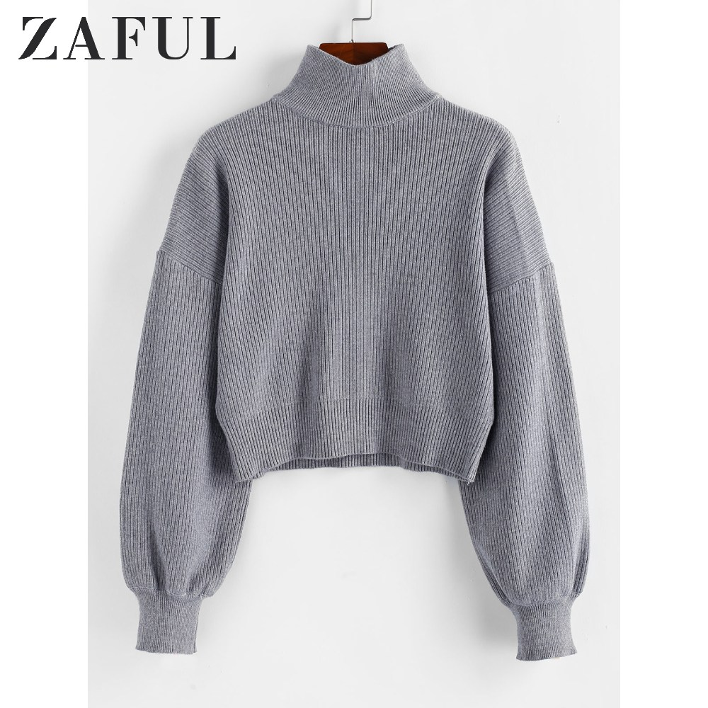 ZAFUL Pullovers Sweater Women High Neck Drop Shoulder Plain Sweater Textured Elastic Solid Lantern Sleeve Short Knit Sweater