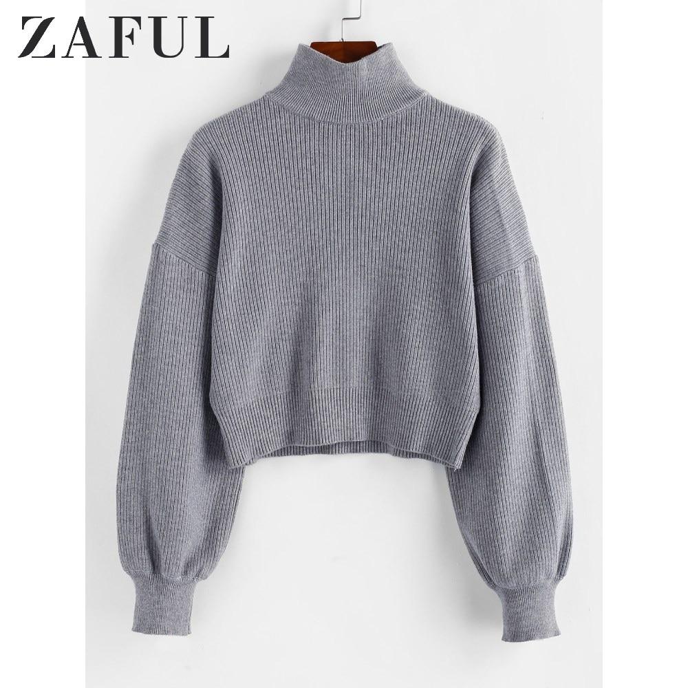 ZAFUL Pullovers Sweater Women High Neck Drop Shoulder Plain Sweater Textured Elastic Solid Lantern Sleeve Short Knit Sweater