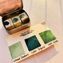 Handgemachte Mineral Aquarell Farbe Cobalt Türkis Grün Set Layered Farbe Acuarela Kunst Liefert Für Künstler