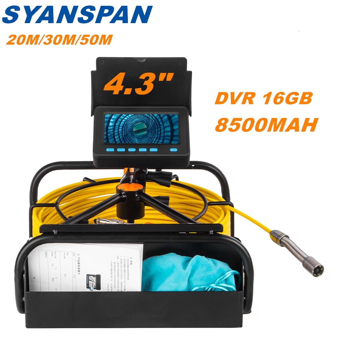 Камера для обследования труб с видеорегистратором 16 Гб FT-карта, промышленный эндоскоп SYANSPAN для канализационных сливов с аккумулятором IP68 ...