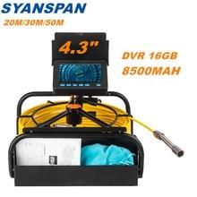 Rohr Inspektion Kamera mit DVR 16GB FT Karte, SYANSPAN Kanalisation Ablauf Industrie Endoskop IP68 8500MHA Batterie 10/20/30/50M