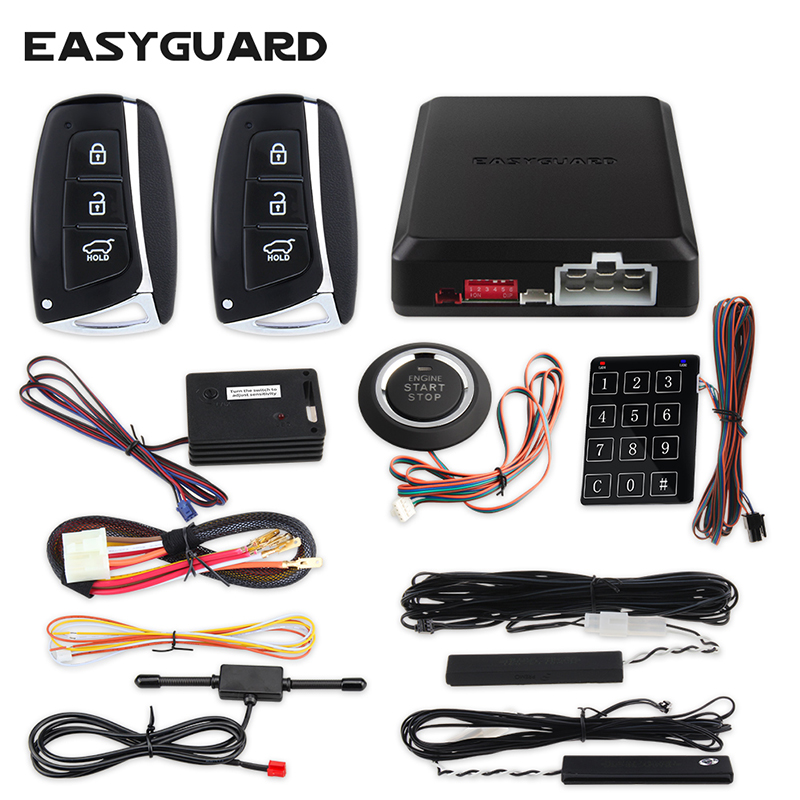 EASYGUARD PKE keyless entry push start system push start kit for cars car alarm with auto